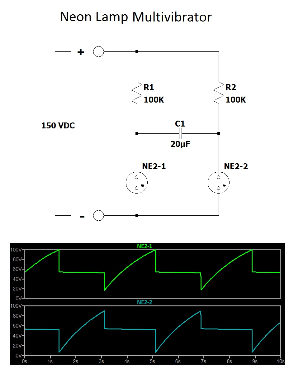 Build A Neon Goofy Lite Sequential Wiring Diagram The Version Of Is Composed Several Multivibrator Circuits Distributed Among 5 Lamps Review Circuit